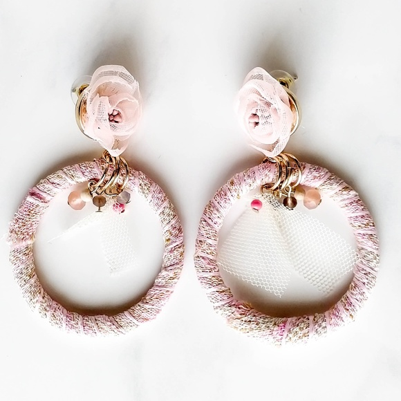 de1144490b4 Makarlon Fabric w  Lace Hoop Earrings - 2 Colors